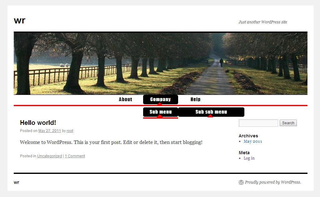 Wordpress - New Custom Menu Example