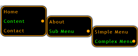 Orange Green - menu Vertical template layout
